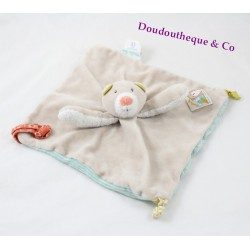 Bear flat Doudou MOULIN ROTY Rusk and Pompom tie pacifier