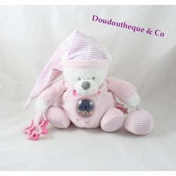 Peluche d'activités ours MAX & SAX rose Moon rayures Carrefour
