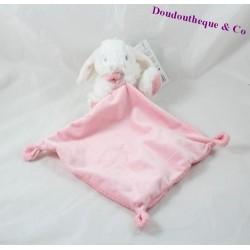 Doudou mouchoir lapin TEX BABY rose blanc pois 11 cm