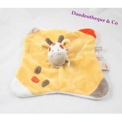Doudou plat vache girafe DOUKIDOU orange beige Boîte à bisous