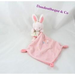 Doudou mouchoir lapin TEX BABY rose saumon robe fleuris oiseau 37 cm