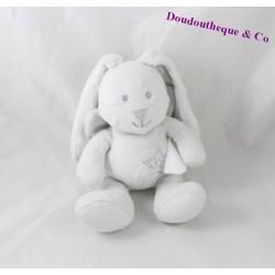 Doudou lapin ange KIMBALOO ailes dans le dos blanc gris étoiles 19 cm