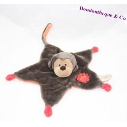 Doudou plat singe PERICLES étoile marron rouge 30 cm