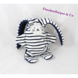 CATIMINI double-sided rabbit comforter navy blue stripes reversible 35 cm
