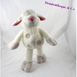 Peluche mouton NICOTOY beige spirales rouge 38 cm