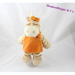Peluche doudou Zèbre Zamba NOUKIE'S beige robe orange 25 cm