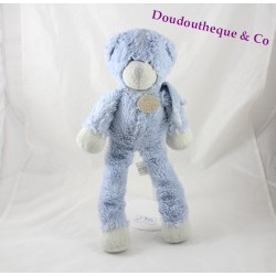 Doudou ours DOUDOU AND COMPANY blue candy bear long legs 37 cm