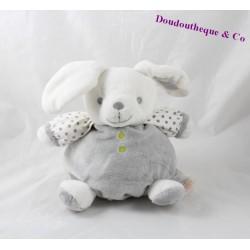 Doudou boule lapin OBAIBI gris blanc étoile 20 cm