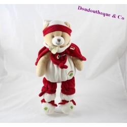 Peluche ours DOUDOU ET COMPAGNIE Nanou rouge blanc 32 cm