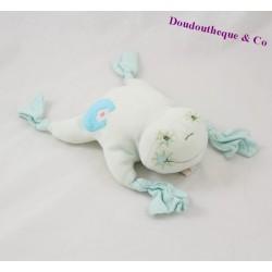 Doudou grenouille TAKINOU bleu vert vichy 25 cm