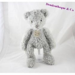 Doudou ours HISTOIRE D'OURS gris poil long 35 cm