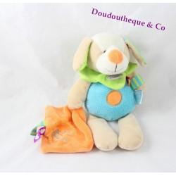 Doudou chien BABY NAT' mouchoir orange doudou d'amour Les Zétik'T