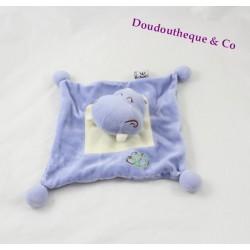 Doudou plat hippopotame MGM Dodo d'amour bleu feuille 30 cm