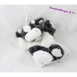 Doudou marionnette vache RODADOU RODA blanc gris poil long 21 cm