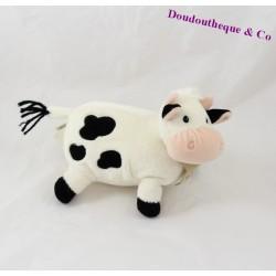 Peluche, doudou vache HISTOIRE D'OURS blanche et noire 18 cm