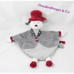 Doudou plat Olaf chien SAUTHON Faustine et Olaf gris rouge 33 cm
