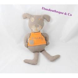 Doudou chien JARDIN D'ULYSSE Ouaf t-shirt orange tissu 26 cm