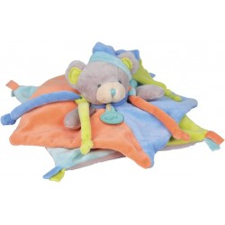 BABY NAT Teddy bear flat comforter blue green orange BN035