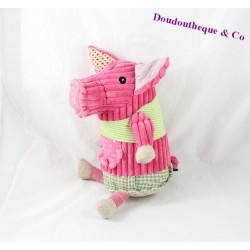 Plush pig LES DEGLINGOS Jambonos pink green grooves scratches 24 cm