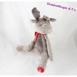 Peluche cerf OBAIBI renne gris rouge écharpe rouge 26 cm