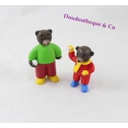 Lot de 2 Figurines Petit Ours Brun DANIELE BOUR BAYARD PRESSE boule de neige