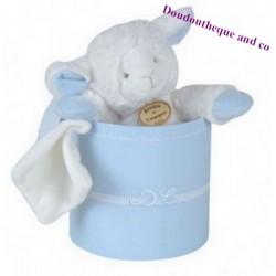 Peluche Agneau Mouton pantin DOUDOU ET COMPAGNIE bleu et blanc mouchoir
