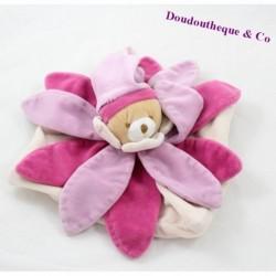 Doudou plat Ours DOUDOU ET COMPAGNIE Tatoo rose fleur collector