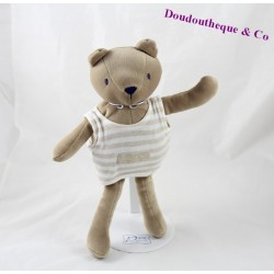 Doudou ours SUCRE D'ORGE marron tee shirt rayures beige 30 cm