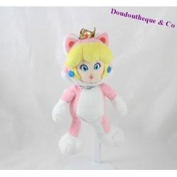Peluche princesse Peach SUPER MARIO Nintendo déguisée en chat rose 24 cm