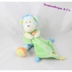Doudou Singe POMMETTE mouchoir vert brodé éléphant 23 cm