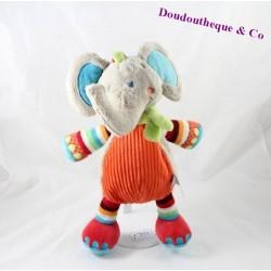 Peluche éléphant TEX BABY gris rayures laine 30 cm