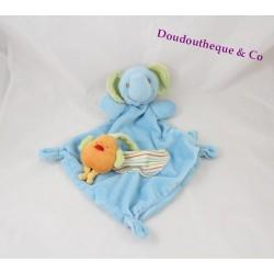 Doudou plat éléphant Bébérêve CASINO Bébé Rêve bleu oiseau orange 35 cm