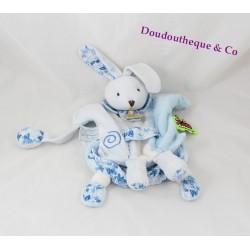 Doudou marionnette lapin DOUDOU ET COMPAGNIE Tatoo fleurs bleu 25 cm