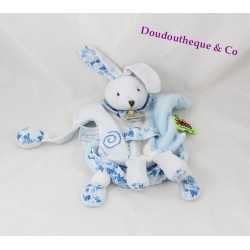 Doudou puppet Bunny BLANKIE and company Tatoo flowers blue 25 cm