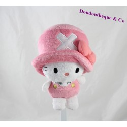 Peluche Hello Kitty BANDAI One Piece chapeau rose 20 cm