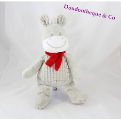 Stuffed horse donkey NICOTOY gray scarf red 32 cm