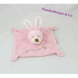 Doudou dish rabbit Wheat grain pink square 19 cm