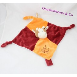 Doudou plat vache RODADOU RODA orange bordeaux 3 noeuds 26 cm