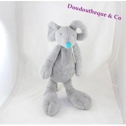 Peluche souris HAPPY HORSE grise nez et nombril bleu turquoise 45 cm