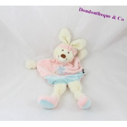 Doudou rabbit flat TEX BABY pink blue flower 30 cm