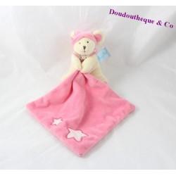 Doudou mouchoir souris BABY NAT' Luminescent étoile rose 15 cm