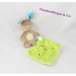 Doudou lapin SUCRE D'ORGE Petit cajou mouchoir vert anis 16 cm