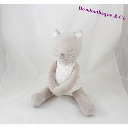 Peluche chat OBAIBI assis robe étoiles gris 28 cm