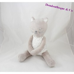 Plush cat sitting OBAÏBI dress grey stars 28 cm