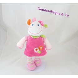 Doudou cow pink cages birds embroidered 28 cm NICOTOY