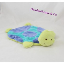 Doudou plat tortue FABIO LUCCI vert bleu Ventura 30 cm
