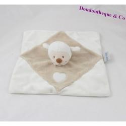 Doudou plat mouton NATTOU blanc beige coeur 26 cm