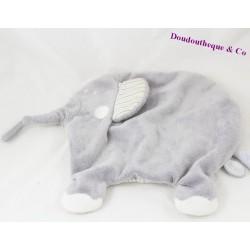 Doudou plat éléphant DIMPEL gris rayures 25 cm