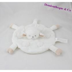 Doudou plat mouton LA HALLE brioche rond blanc beige Kimbaloo