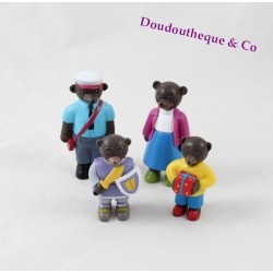 Lot de 4 Figurines Petit Ours Brun DANIELE BOUR BAYARD PRESSE facteur, chevalier ...